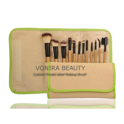 High Quality Synthetic Hair Makeup Cosmetic Brush with Linen Pouch
