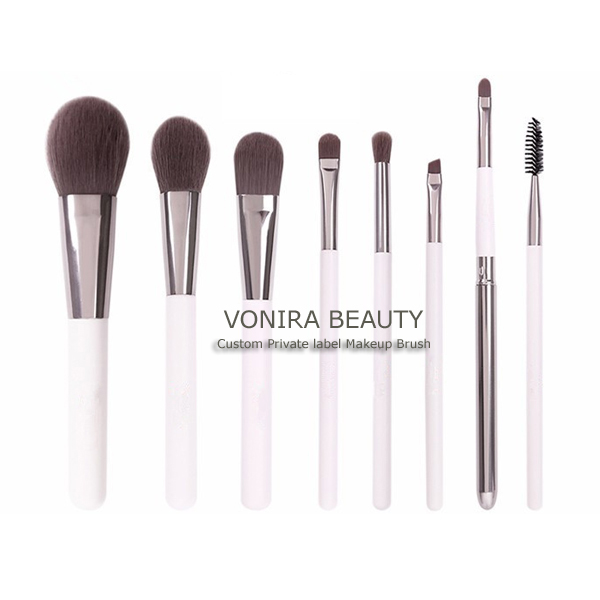 Antibacterial-treated Makeup Brush Set Includes 8 Professional Makeup Brushes With Premium Synthetic Fiber