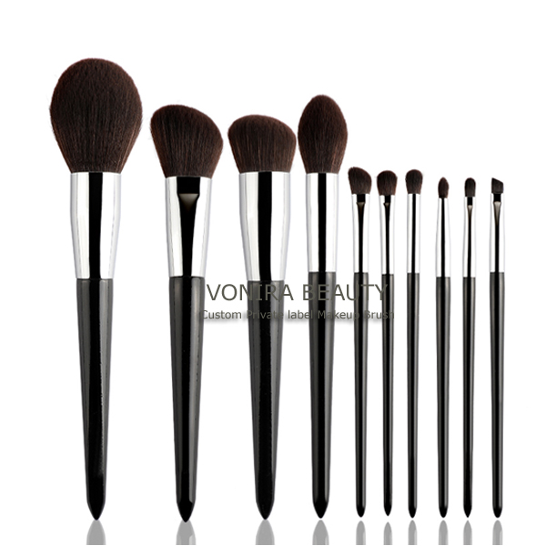 Custom Private Label Luxury Finest Quality Taklon Hair,Premium Synthetic Fiber 10 Pieces Makeup Brush Set With Delicate Texture
