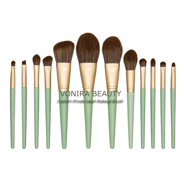 Custom Private Label Cruelty Free Taklon Hair Gold Makeup Brush Kit With Blue Handle