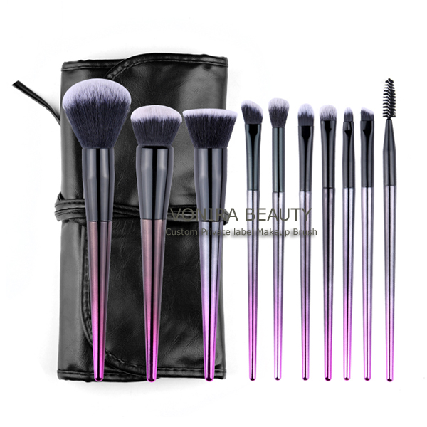 Professional Cruelty Free Vonira Germany BSF Hair Makeup Brush Set With Purple Handle
