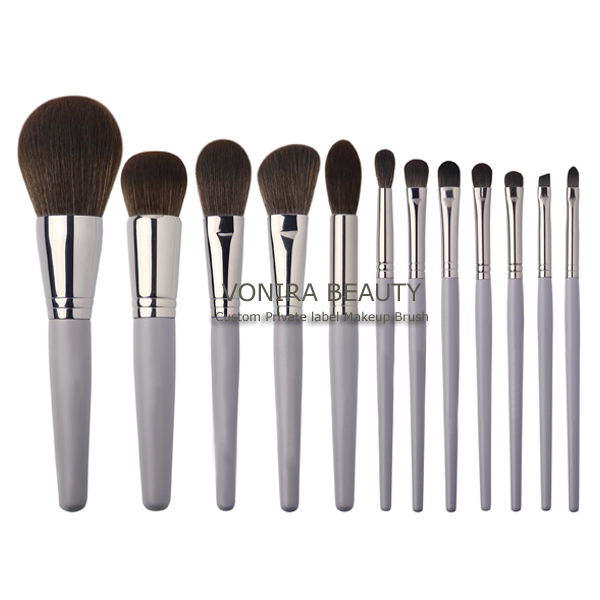 Premium Synthetic Fiber 12 Pieces Professional Cruelty Free Vonira Tech FJS Hair Makeup Brush Set With Grey Handle