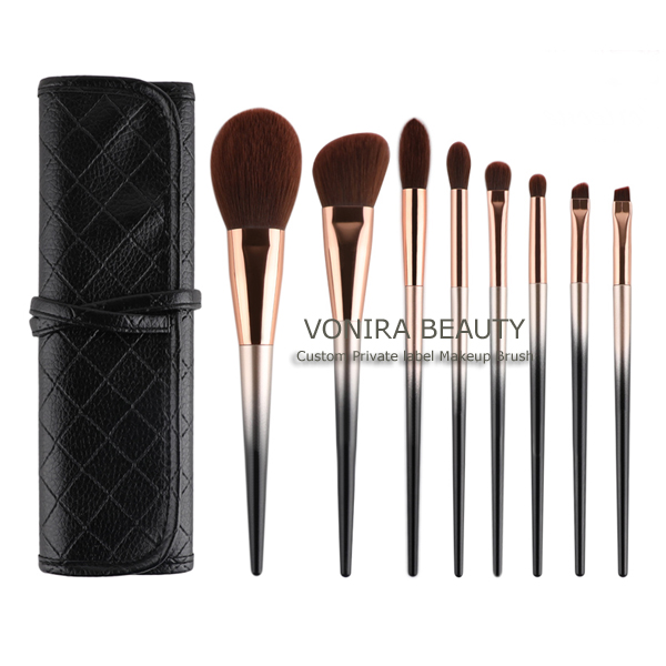 Premium Synthetic Fiber 8 Pieces Professional Makeup Brush Set With Glitter Diamond Star Handle