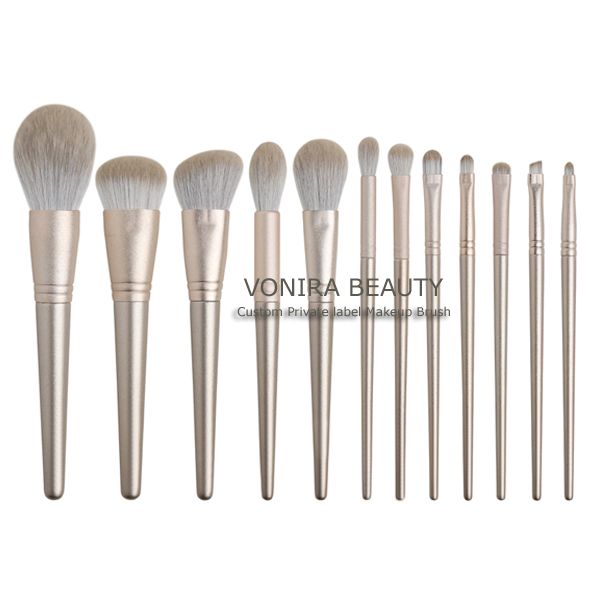 Professional Master Artist 12-Piece Makeup Brush Set With Gold Glitter Ferrulle and Handles