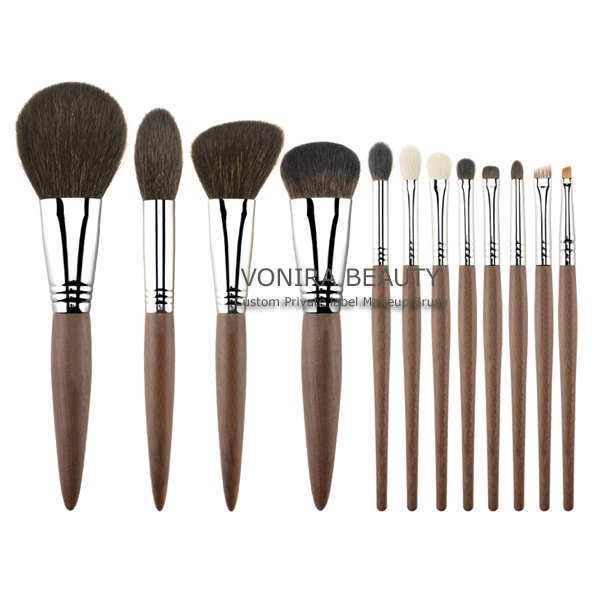 Private Logo Professional Luxury Quality 12 piece Soft Natural Animal Hair Makeup Brush Set With Ebony Handle