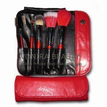 5-piece Professional Convenient Makeup Brush Kit with Copper Ferrule, OEM Orders Welcomed