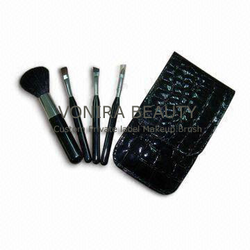 Four-piece Makeup Brushes with Elegant Case, OEM and ODM Orders Welcomed
