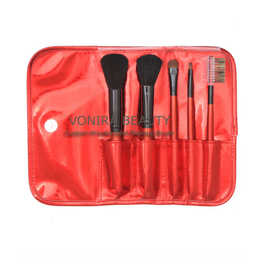 5pcs red cosmetic brush set