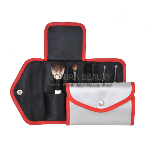5PCS Makeup Brush Set With White Fabric Cosmetic Bag