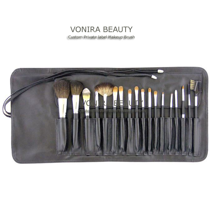 18 piece set of high quality real hair make-up brushes, made from sable, goat and racoon hair
