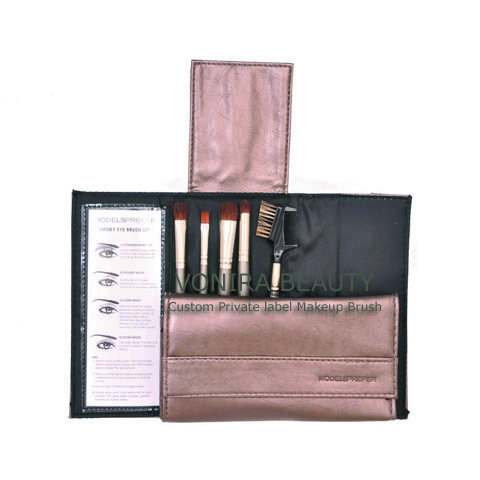 5PCS Makeup Brush Set With Brown Leather Cosmetic Bag Manufacturer
