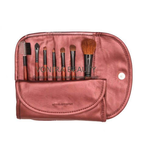 Custom Private Label 7PCS Makeup Brush Set With Red Leather OEM Factory