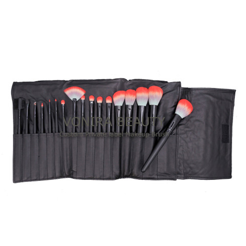 Custom Private Label 17PCS-Professional-Makeup Brush Set With- ri Color Hair and Cosmetic Case