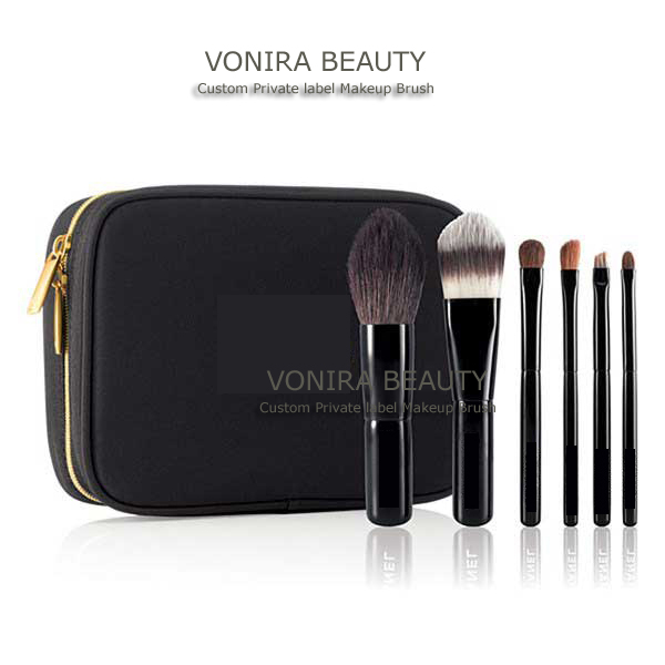 6pcs Mini Travel/Makeup Brush Set with Colorful Wooden Handle and Luxury Cosmetic Bag