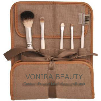 Custom OEM Natural hair cosmetic brush set