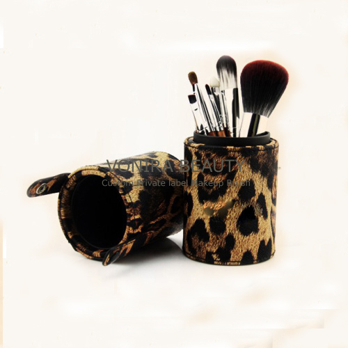 Snthetic Hair 7PCS Cosmetic Brush Kit With Leopard Cup Holder