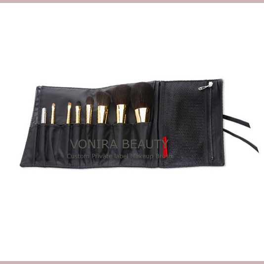 8 Piece Makeup Brush Set and Brush Roll