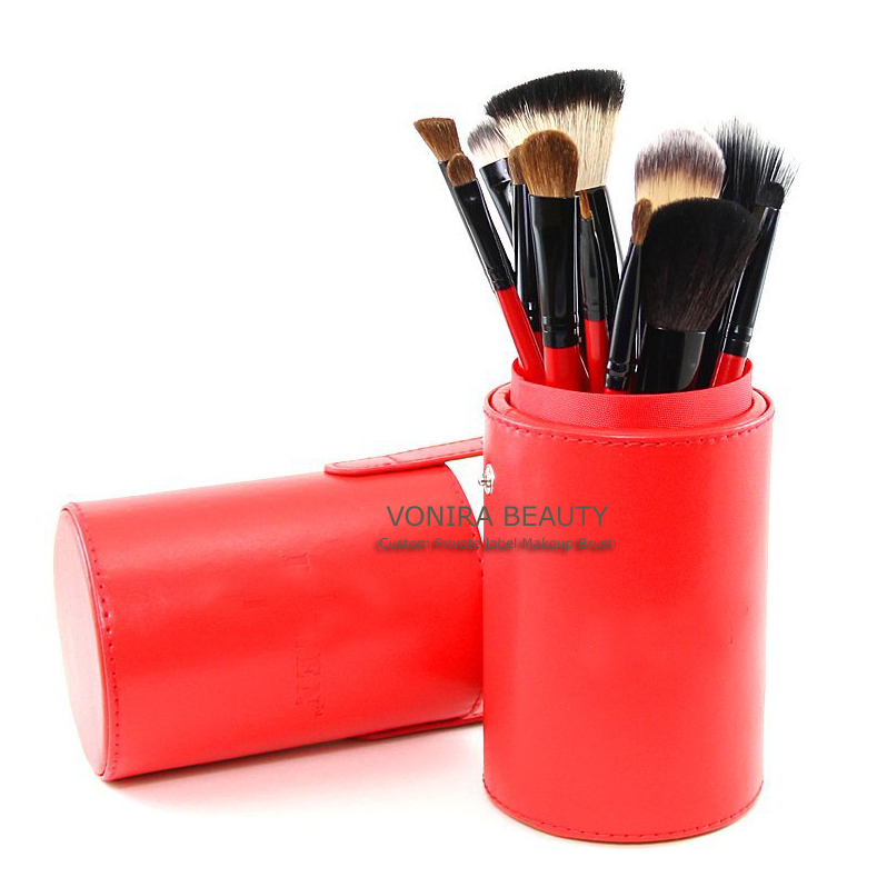 Quality 12 Piece Makeup Brush Set in Red Leather Case Holder - Synthetic and Natural Hair Bristles