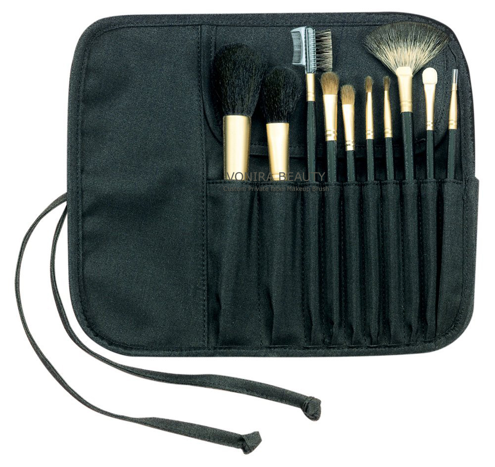 10 piece Cosmetic Brush Set in Roll