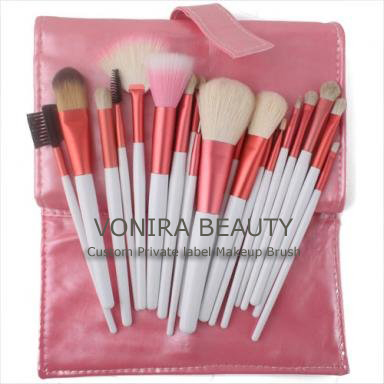 20 PCS Makeup Mineral Eyeshadow Pink Brushes Set Case