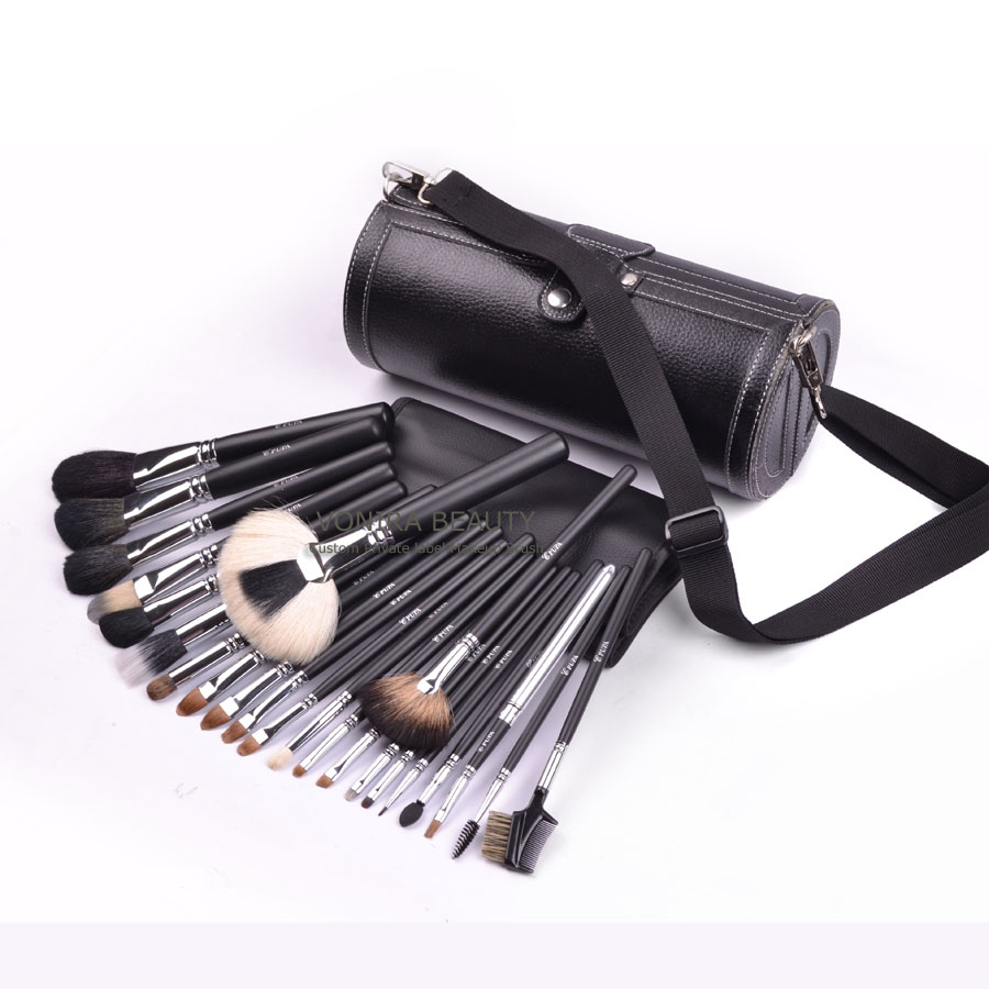 Vonira 23pcs top quality  sable hair cosmetic brush set bobbin roller make up brush
