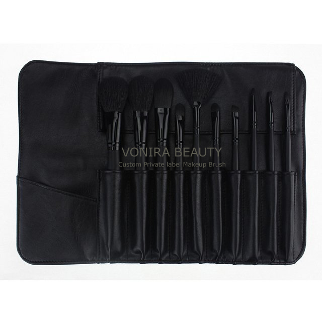Private Label 10PCS Makeup Brush Set Black Synthetic Hair