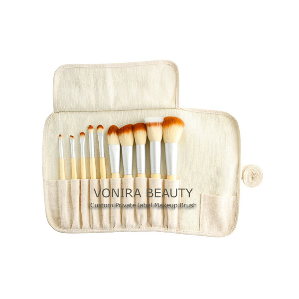 Custom Private Label Eco Bamboo 10pcs Cosmetic Brush Set