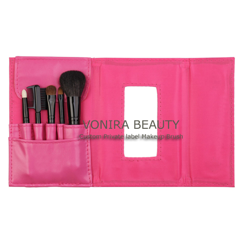 Custom Private Label Pink Cosmetic Brush Set With Mirror Pouch