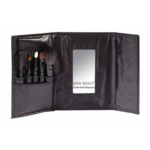 Custom Private Label 5pcs Cosmetic Brush Set With Mirror Pouch