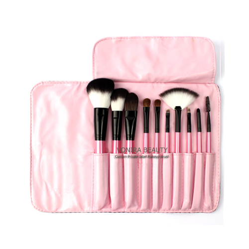 10 PCs Makeup Goat Hair Makeup Brush Pony Hair Brushes Kit Ultra Soft Synthetic Hair